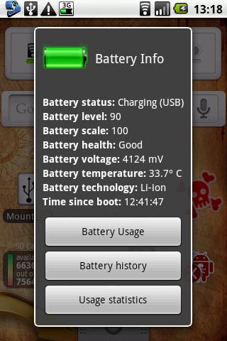 Статус батарея для андроида