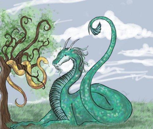 Рисунок дракона и змеи