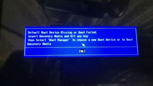 Default Device Missing or Boot Failed Insert Recovery Media